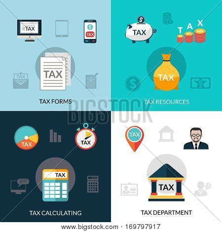 Tax design concept set with forms resources calculating flat icons isolated vector illustration