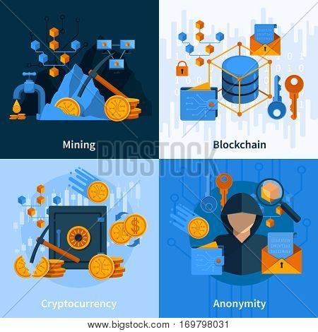 Concept in flat style with virtual currency and block chain mining and anonymity isolated vector illustration