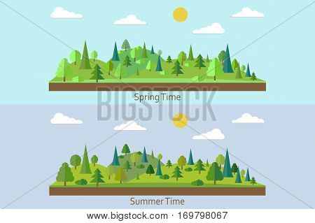 Set of landscapes. Spring Forest. Summer forest. Forest in flat style. Wildlife. Eco lifestyle. Forest view. Vector illustration