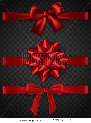 Set of shiny red satin bow, bowtie, ribbon on transparent background. Vector illustration eps 10 format.