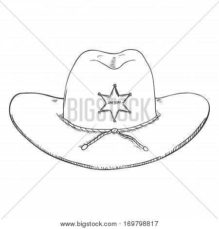 Vector Single Sketch Sheriff Hat