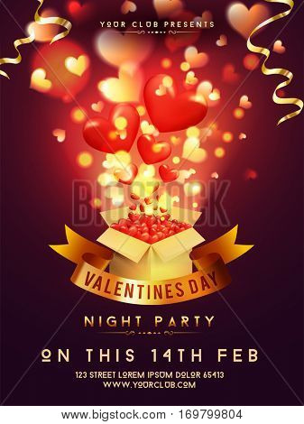 Glossy hearts decorated Template, Banner, Flyer or Invitation Card design for Valentine's Day Night Party celebration.