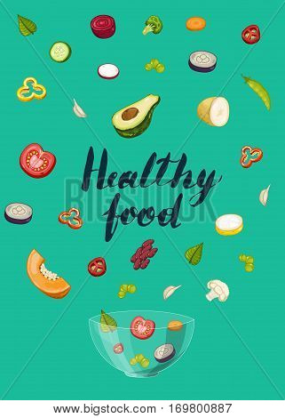 Healthy food poster vector illustration. Fresh natural vegetable, vegetarian nutrition, organic farming, vegan diet, eco product. Organic food concept with pumpkin, broccoli, beans, olives, pepper
