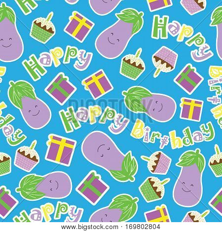 Birthday seamless pattern with cute eggplants, birthday cake and gift on blue background suitable for birthday kid wallpaper, scrap paper and fabric