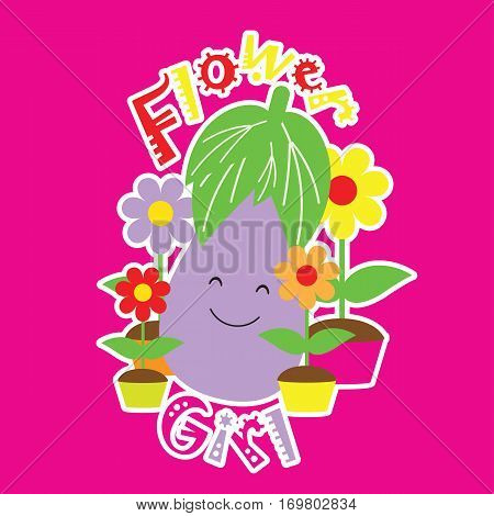 Vector Cartoon of Eggplant plays with flowers suitable for kid wallpaper, scrap book, and t-shirt cartoon