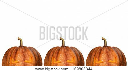 Halloween pumpkins isolated on white background concept design