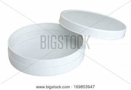 Product Packing. Cream White Opened Empty Can. Isolated On White Background. For Your Design. 3D Illustration