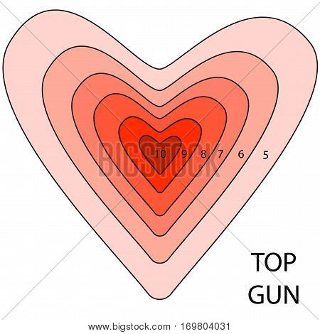 Target from concentric hearts. Competition concept on Valentine Day