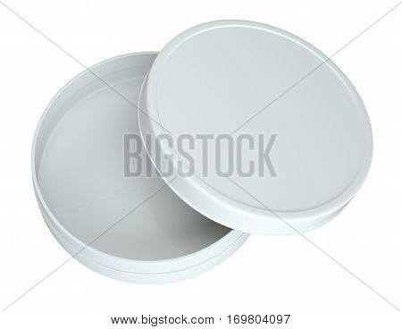 Opened Empty Cream Can. Top View. Products Mock Up. Isolated On White Background. 3D Rendering