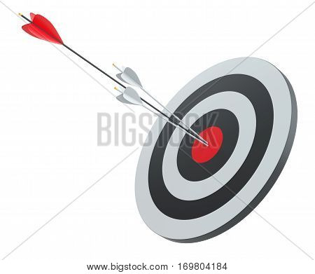Arrow hit the center of red target, 3D Illustration