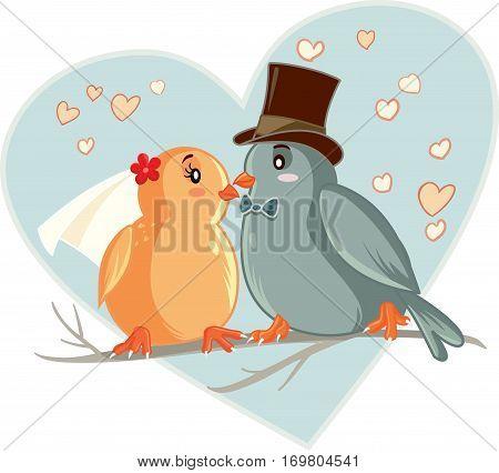 Lovebirds Vector Cartoon Wedding Invitation Template Design
