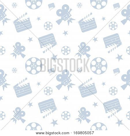 Cinema concept seamless pattern. Flat vector cartoon cinema illustration. Objects isolated on a white background. Flat vector cartoon illustration. Objects isolated on a white background.
