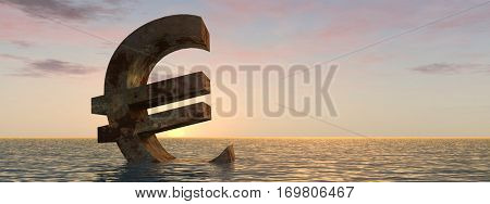 Conceptual 3D illustration currency euro sign or simbol sinking in water, sea or ocean sunset background concept for European crisis, metaphor to financial, banking, economy, problem, danger or risk