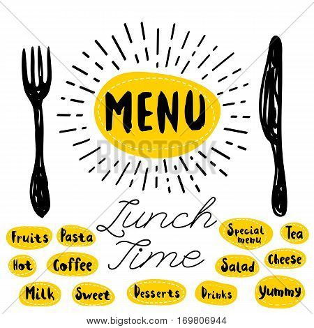 Menu logo, fork, knife, lunch time. Lettering, calligraphy logo, sketch style, light rays, heart, pasta, vegan, tea, coffee, deserts, yummy, milk, salad, oatmeal. Hand drawn vector illustration.