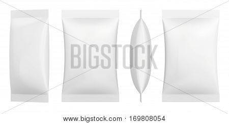 White Blank Foil Packaging Plastic Pack Ready For Your Design: Snack Product Packing. 3d rendering.