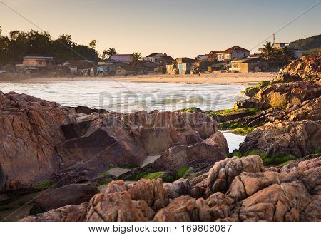 A small vietnamese fishing village on the coastline in central Vietnam.