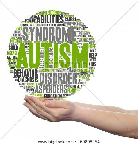 Concept conceptual childhood autism syndrome symptoms disorder abstract word cloud held in hands isolated on background metaphor to communication, social, behavior, care, autistic, speech difference