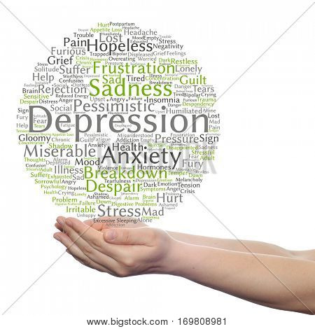 Concept depression mental emotional disorder abstract word cloud held in hands isolated on background metaphor to anxiety, sadness, negative, sad, problem, despair, unhappy, frustration symptom