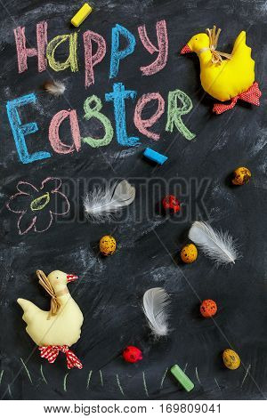 Easter Ducks, Colorful Eggs And Feathers.