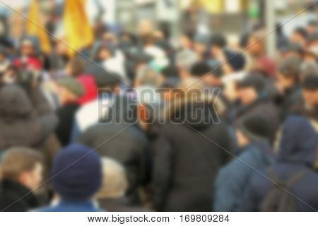 Blurred background of people crowd