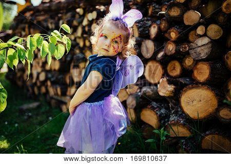 beautiful girl in a fairy costume with butterfly wings.