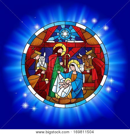 Circle stained glass with the Christmas and Adoration of the Magi scene in blue shining