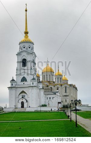 Vladimir, Russia - August 29, 2009: Dormition Cathedral or Assumption Cathedral and Bell tower in Vladimir, Russia. UNESCO World Heritage Site.
