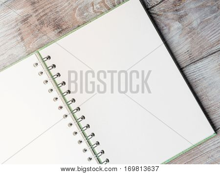 Open notebook blank empty page to fill with text. Top view