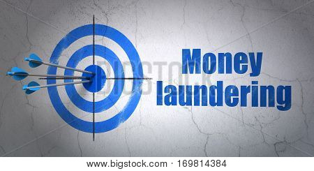Success money concept: arrows hitting the center of target, Blue Money Laundering on wall background, 3D rendering
