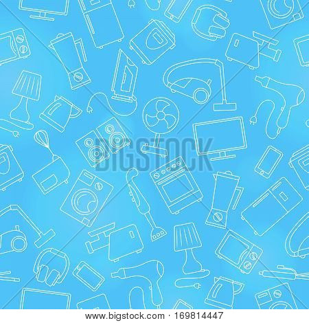 Seamless pattern topic of household appliances a light outline on a blue background