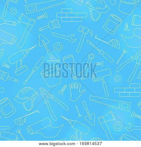 Seamless background on the topic of construction and repair construction equipment simple contour icons white contour on blue background
