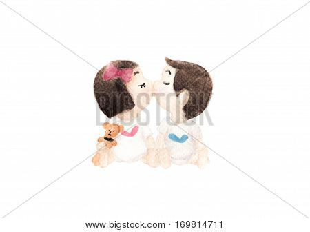 Friendly romantic encounter boy and girl - kids kissing. Watercolor drawing.