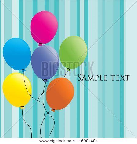Birthdays card with balloons. Vector.