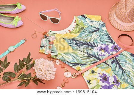 Fashion Spring girl clothes set, Accessories. Summer street style. Design Trendy sunglasses, shoes.Summer floral dress, fashion watch hat, spring flowers. Summer lady. Creative urban. Perspective view