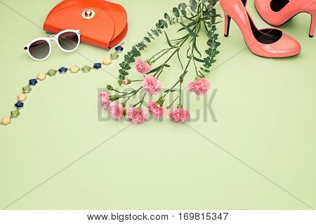 Spring Fashion Design girl clothes set, accessories. Pastel spring colors.Trendy sunglasses, floral fashion, handbag clutch, flowers.Glamor shoes heels Summer lady.Creative urban.Perspective view