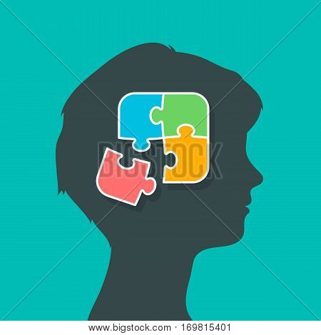 Silhouette of woman head profile putting the puzzle pieces together thoughts in brain concept vector illustration