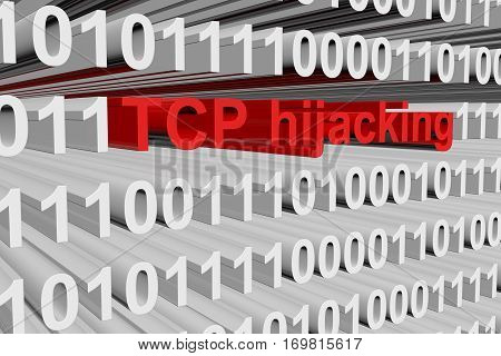 tcp hijacking in binary code, 3D illustration