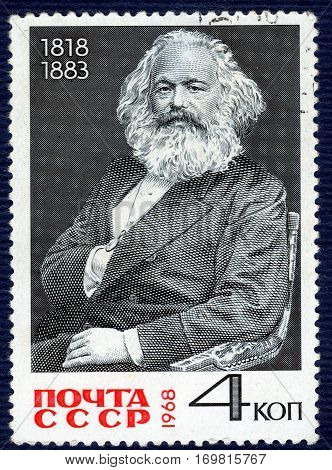 USSR - CIRCA 1968: Postage stamp printed in USSR with a picture a portrait of Carl Marx (1818-1883). circa 1968