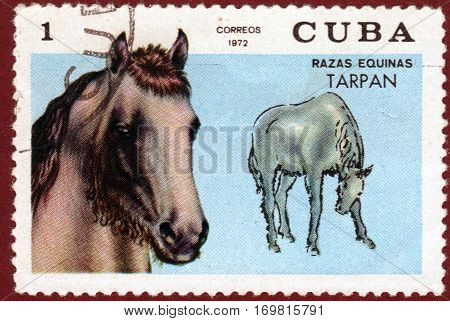 CUBA - CIRCA 1972: a post stamp printed by Cuba shows a series of images