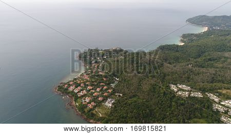 Aerial view of the sea in Phuket, coastline near Kata beach, Thailand