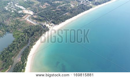 Aerial view of the blue water near Kata beach in Phuket Thailand