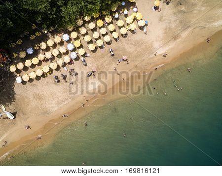 SAO PAULO, BRAZIL - CIRCA DECEMBER 2016: Top View of Praia do Curral (Curral Beach) in Ilhabela, Sao Paulo, Brazil