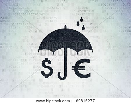 Security concept: Painted black Money And Umbrella icon on Digital Data Paper background