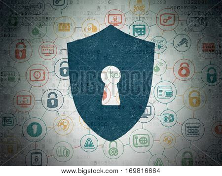 Safety concept: Painted blue Shield With Keyhole icon on Digital Data Paper background with Scheme Of Hand Drawn Security Icons