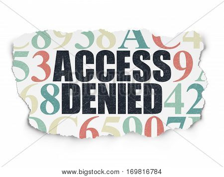 Protection concept: Painted black text Access Denied on Torn Paper background with  Hexadecimal Code