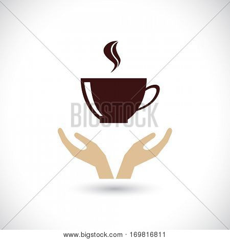 hands support coffee cup icon