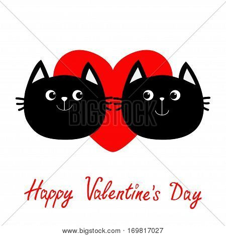 Two black cat head couple family icon. Red heart. Cute funny cartoon character. Happy Valentines day Greeting card. Kitty Whisker Baby pet collection. White background. Isolated. Flat design. Vector