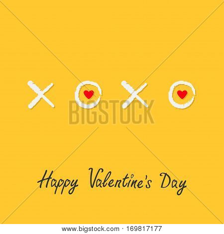 Xoxo Hugs and kisses Sign symbol mark Love Red heart Chalk effect Word text lettering. Happy Valentines day. Greeting card. Flat design Yellow background Isolated. Vector illustration