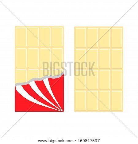 White chocolate bar icon set. Opened red wrapping paper foil. Tasty sweet dessert food. Rectangle shape Vertical piece. Modern simple style. Flat design background. Isolated. Vector illustration