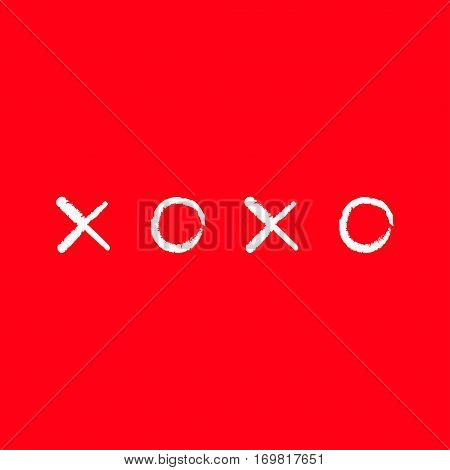 Xoxo Hugs and kisses Sign symbol mark Love card Chalk line White Word text lettering. Flat design Red background Isolated. Vector illustration